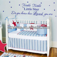 YW-1022 Twinkle Twinkle Little Star Self-adhesive PVC Non-toxic Wall Decor Stickers with Quotes