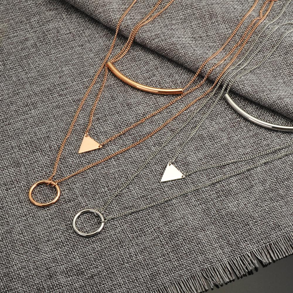 Fashion Jewelry Square Triangle Design Multi Layered Women Necklace