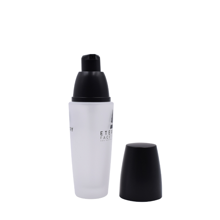 40ml cosmetic glass bottle matte white glass lotion  bottle  with silk logo printing