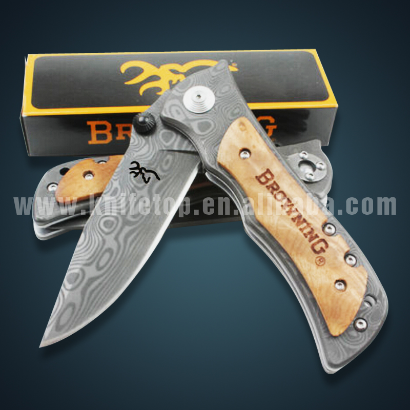 Huiwill Browning 339 folding Blade <strong>knife</strong> Damascus stainless steel hunting <strong>knife</strong> high quality survival camping outdoor <strong>knife</strong>