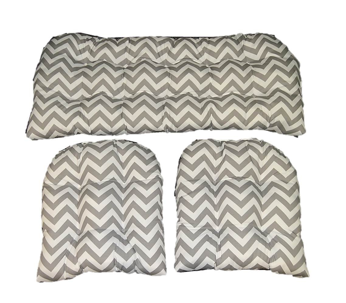 3 Piece Wicker Cushion Set - Gray / Grey and White Chevron Indoor / Outdoor Fabric Cushion for Wicker Loveseat Settee & 2 Matching Chair Cushions