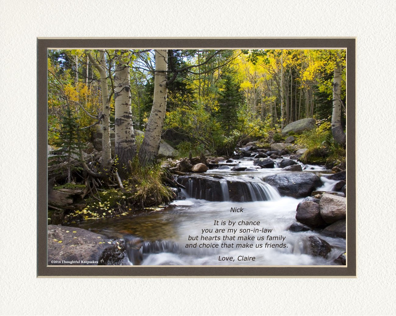 Personalized Son In Law Gift River Photo With It Is By Chance