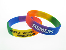 Segmented color silicone Wristbands factory promotional Bulk price offer for rainbow color bangle rubber bands