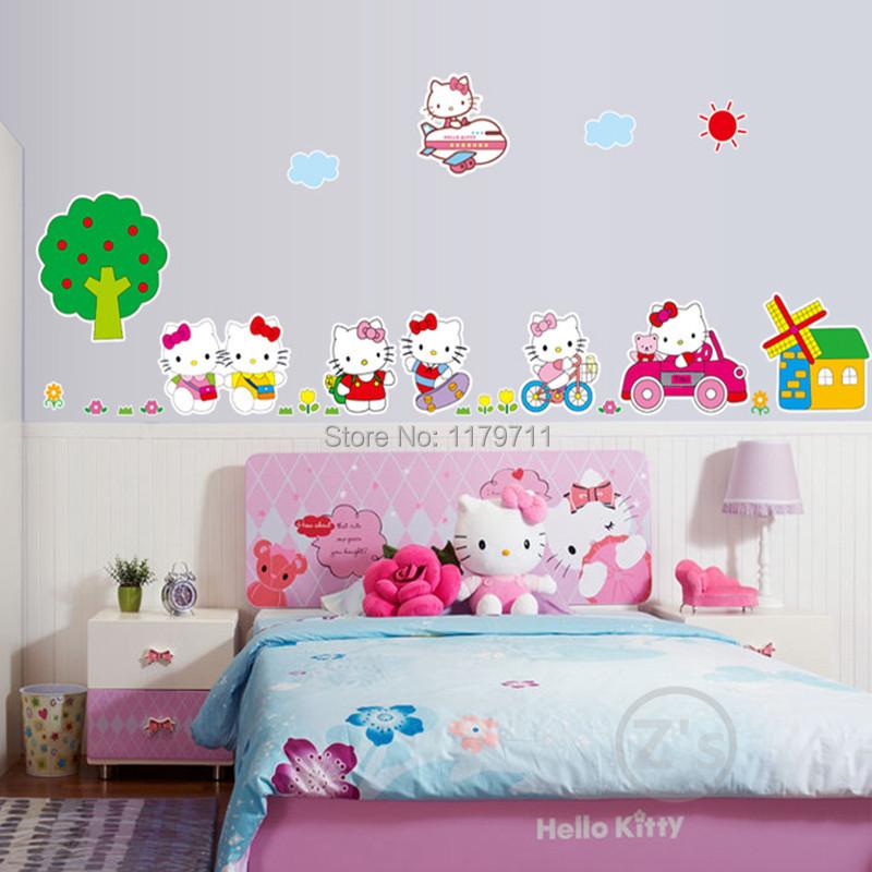 Hello Kitty Home Decor: Kt Cat Hello Kitty Bedroom Decor Wall Sticker For Girls
