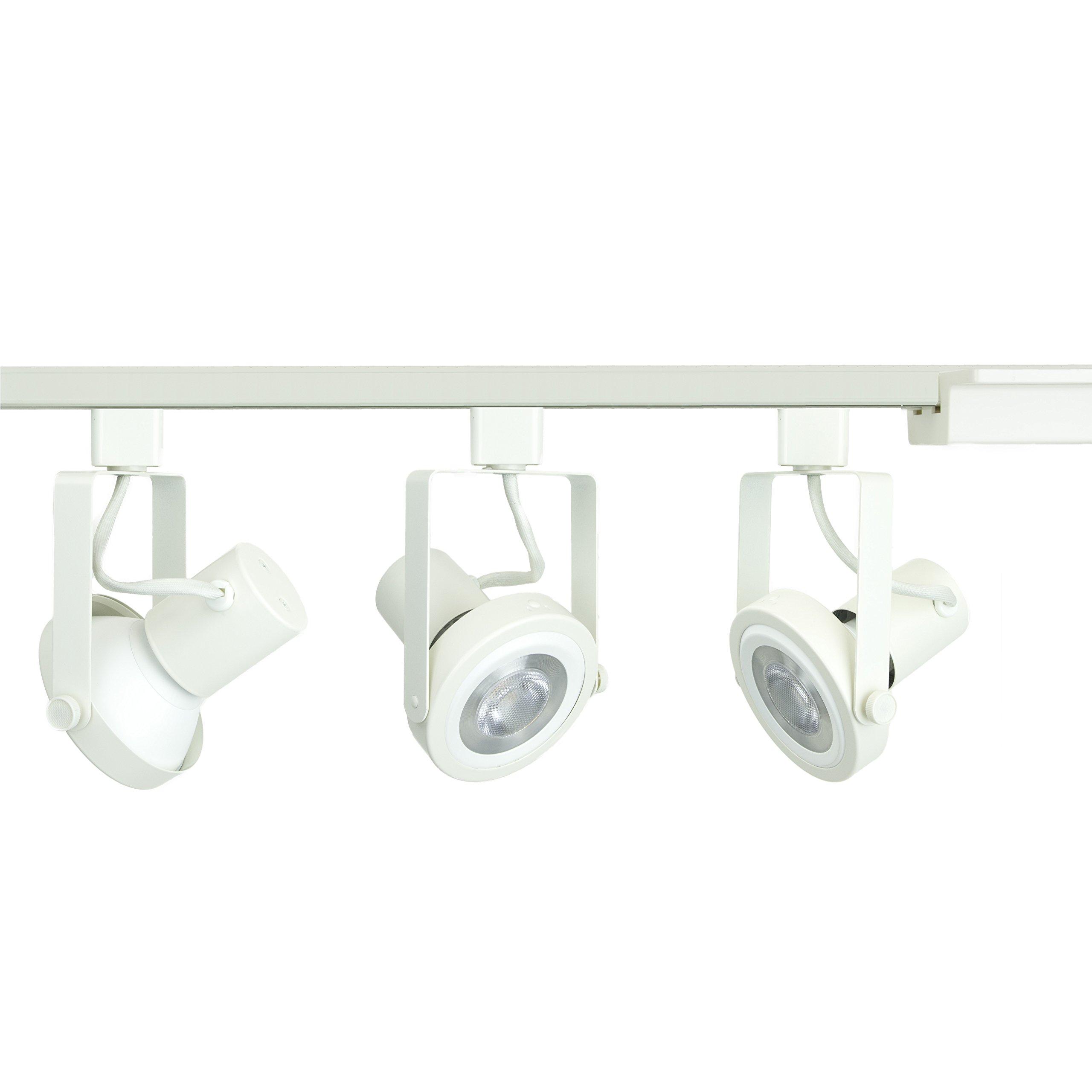 Direct-Lighting 3-Light PAR30 LED Gimbal Ring Track Lighting Kit - White Finished - Bulbs Included.