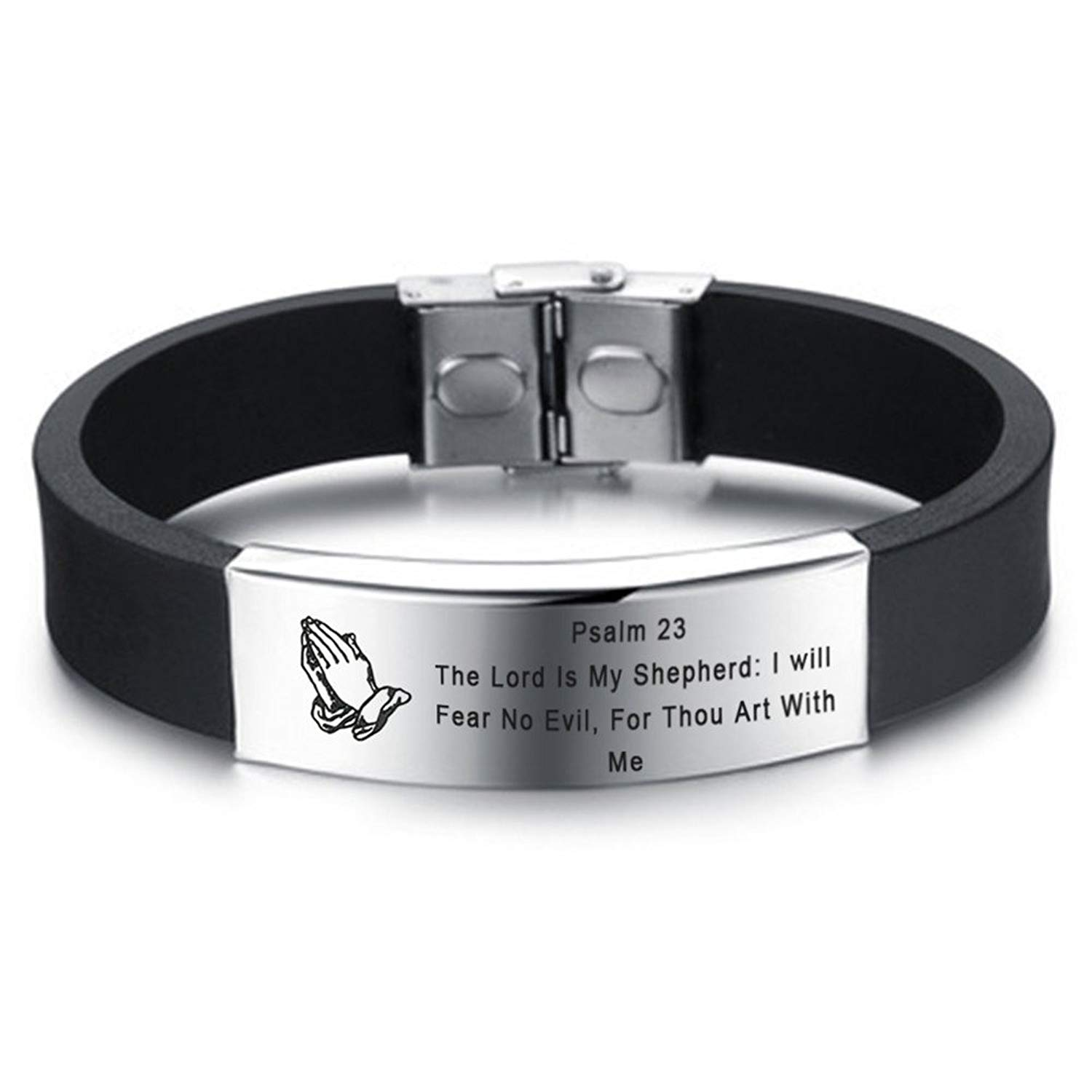 LF Mens Stainless Steel Silicone Praying Hands Serenity Prayer Bible Verse Bracelet Rubber Scripture Quote Wristband Christian Jewelry for Boyfriend Husband Son Dad for Birthday Baptism Gift