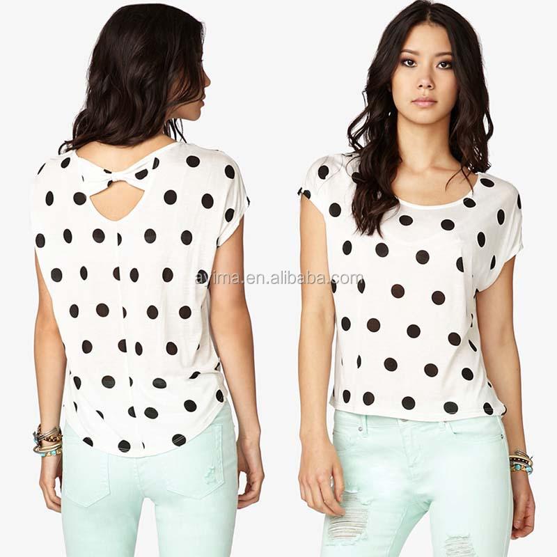 latest polka dot tops short sleeve bow back top ladies new design fashion  top. Latest Polka Dot Tops Short Sleeve Bow Back Top Ladies New Design