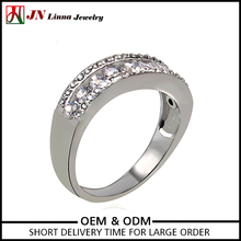 JN4004 2017 jewelry wholesale china Platinum and gold zirconia Plated copper ring