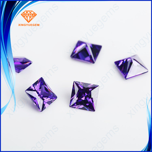square cut amethyst cubic zirconia synthetic loosse gemstone