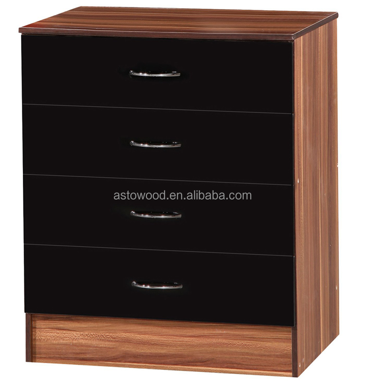 Black Gloss & Walnut Chest of 4 Drawers Bedroom Furniture Drawer