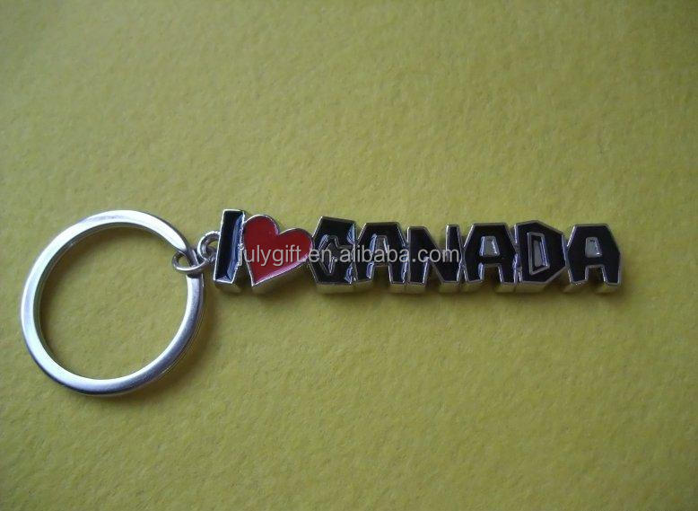 custom letter metal innovative keychain with love