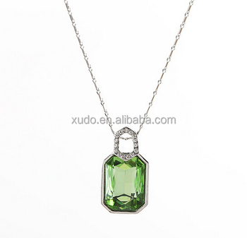 free shipping fashion crystal pendant women necklace 10 colors mixed