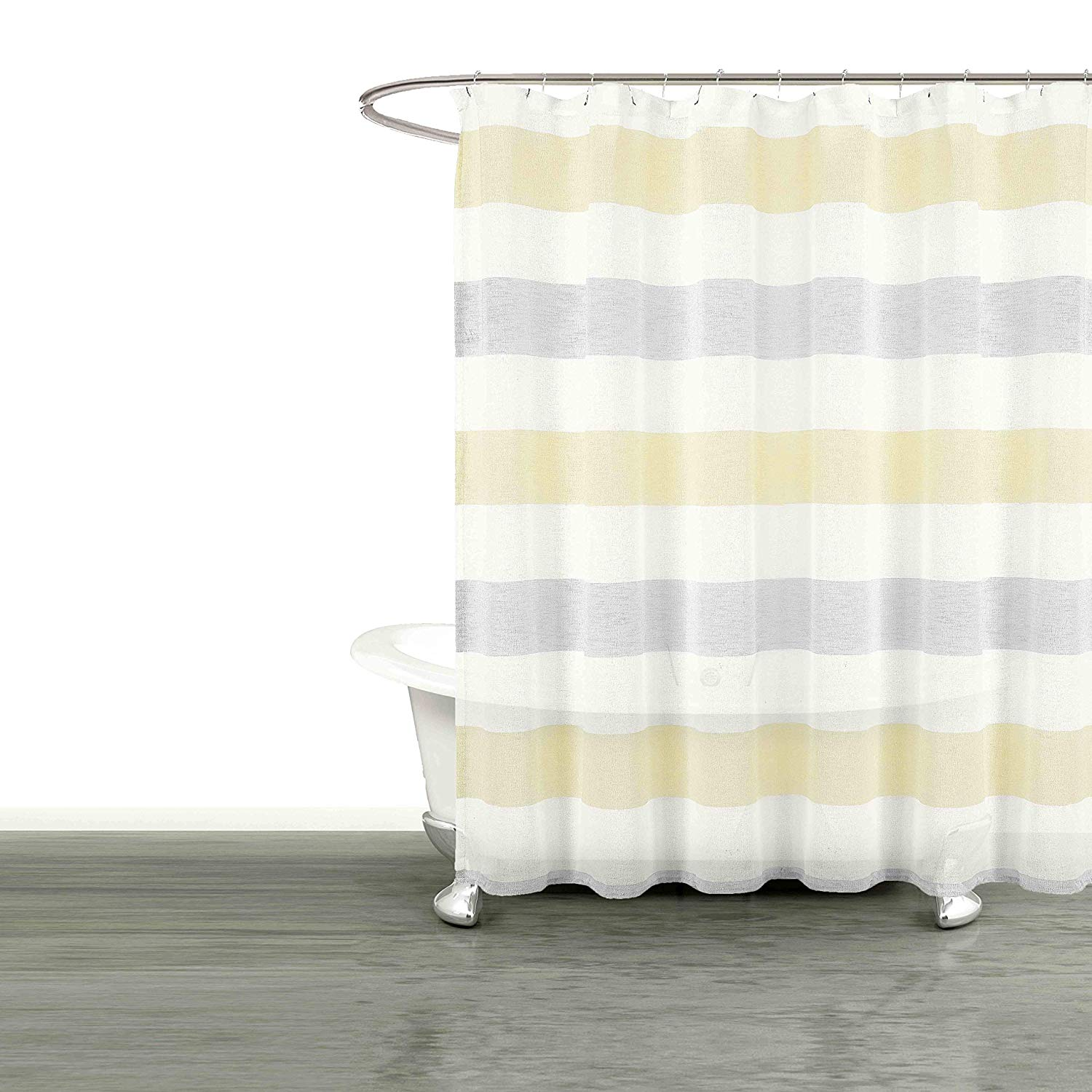 Get Quotations Bathroom And More Collection Sheer Fabric Shower Curtain White Yellow Gray Cabana Stripe Design