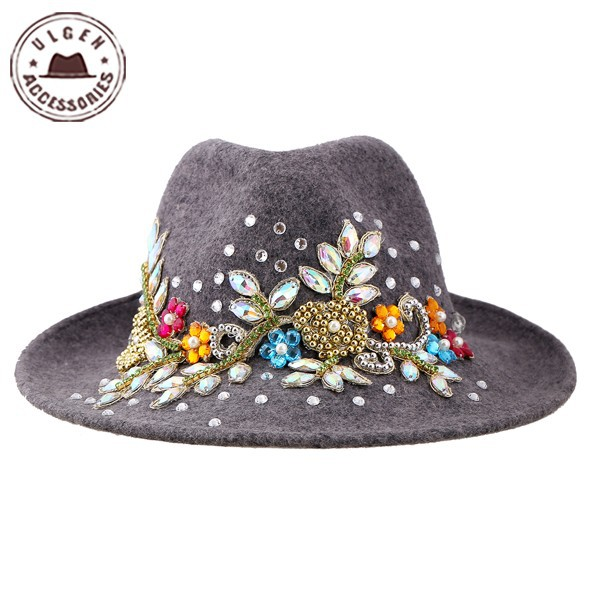 7488ac81e4d Get Quotations · Ulgen Designed fashion vintage hat with jewely grey wool  fedora hat women wool felt hat