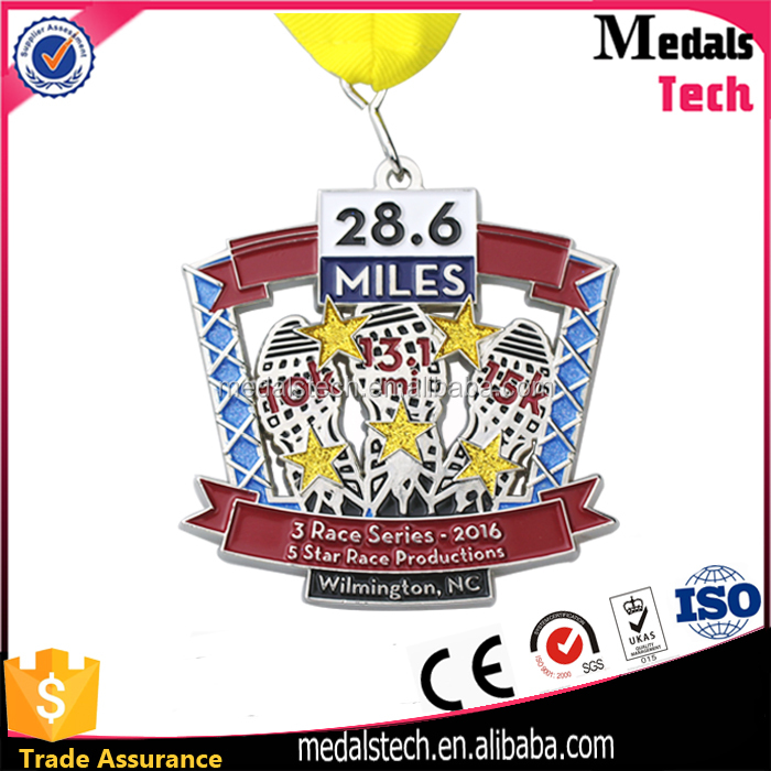 Wholesale professional custom glitter 10k 15k marathon sports race medal