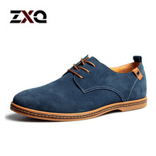 Plus Size Men Shoes 2015 New Suede Genuine Leather Fashion Flat Men Sneakers Casual Oxford Shoes Men Leather Shoes