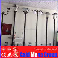 Outdoor lamp fixture classical garden lighting pole light 3.5m pole with optional solar cell