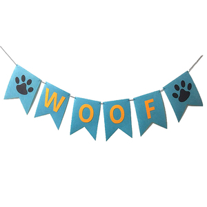 Woof Banner Garland Hanging Paw Printing Pennant Pet Costume Bandana for Dogs Accessory for Dogs Small Animals