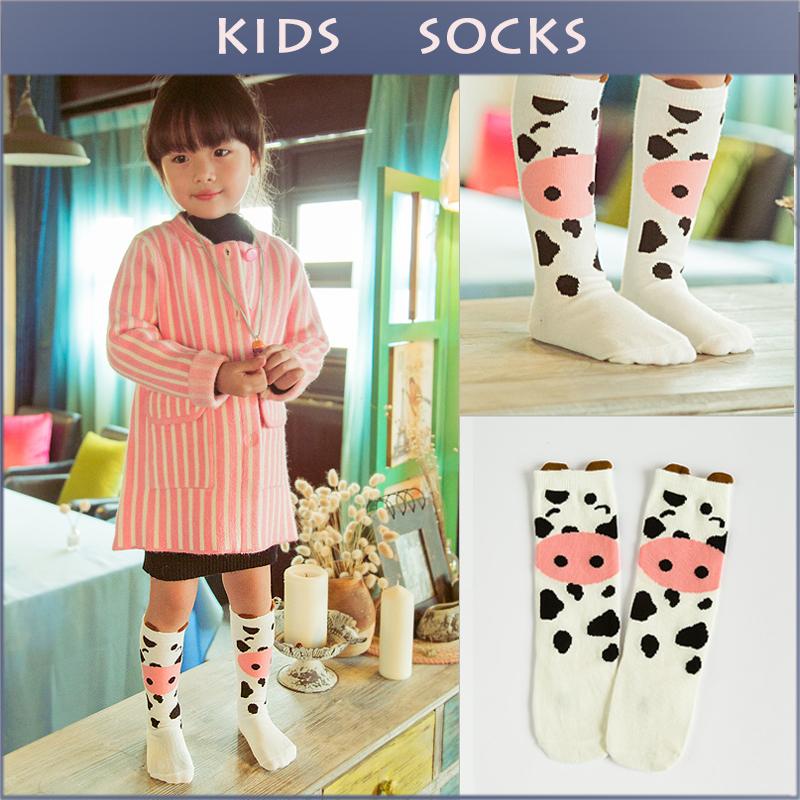 Baby Top Fashion Cute Cow Casual Kids Knee Long Sock Baby Soft Cotton Kawaii Boy Girls