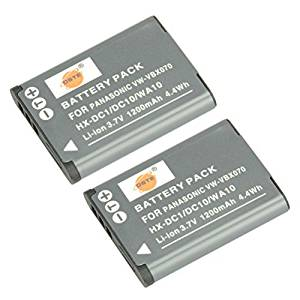 DSTE 2x VW-VBX070 Replacement Li-ion Battery for Panasonic HX-DC1 DC2 DC10 DC15 WA10 HM-TA2 TA20 Camera as DB-L80 D-LI88