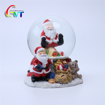 Custom Made Resin Electric Christmas Snow Globe With Music