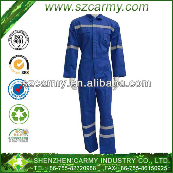 100% cotton fire resistance safety worker's bright blue coverall suit
