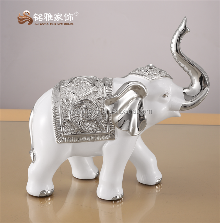 White Thai elephant polyresin colored electroplating decorative resin animal figurine