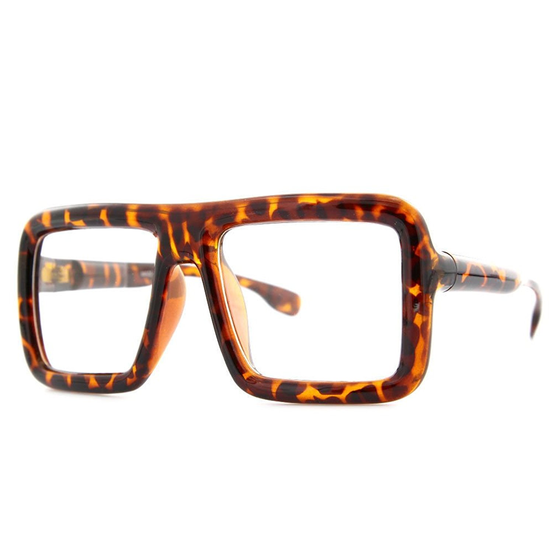 785ecc0242b9 Get Quotations · Black Large Thick Retro Nerd Bold Big Oversized Square  Frame Clear Lens Glasses Black