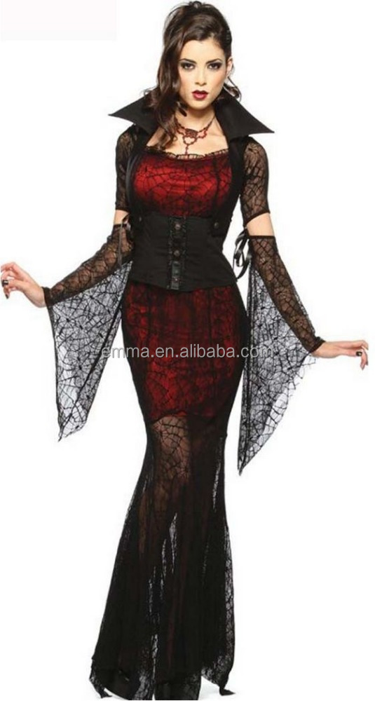 Womens Long Gotico Spider Witch Vampire Contessa Fancy Dress Costume di Halloween BWG17407