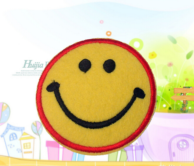 Free Shipping 20 pcs Smiling face cartoon Embroidered iron on Motif Applique TT, garment embroidery patches DIY accessories