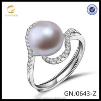 Sterling Silver Round Fresh Water Pearl CZ Accent Royal Bridal Wedding Ring