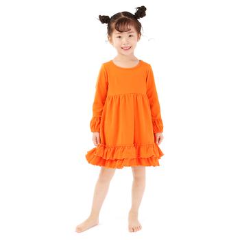 4ceb5e5cd79da Long Sleeve Fall Winter Ruffle Dress Orange Cotton Baby Dress - Buy ...