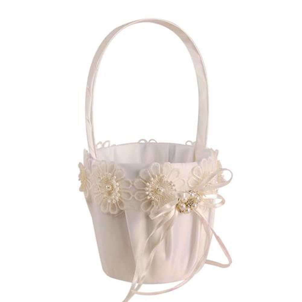 Wedding Portable Small Flower Basket Cloth Bridal Flower Girl Flower Scattering Candy Storage Basket Western Wedding Supplies Satin Wedding Flower Girl Basket Romantic Cute Double Bow Dec