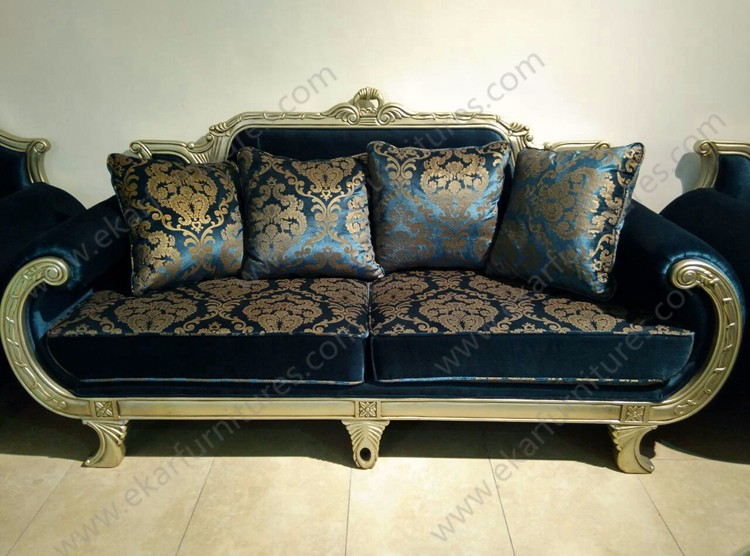 Living Room Arabic Luxury Furniture New Model Antique Wooden Diwan Sofa Sets