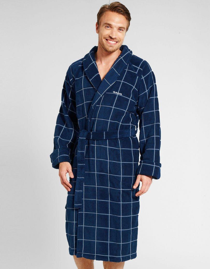 b9bf5ad3c0 ... Ross Michaels Mens Long Robe - Full Length Big Tall Bathrob  super  popular 4bca2 70637 Get Quotations · Mens Window Check Navy Blue Towelling Robe  in ...