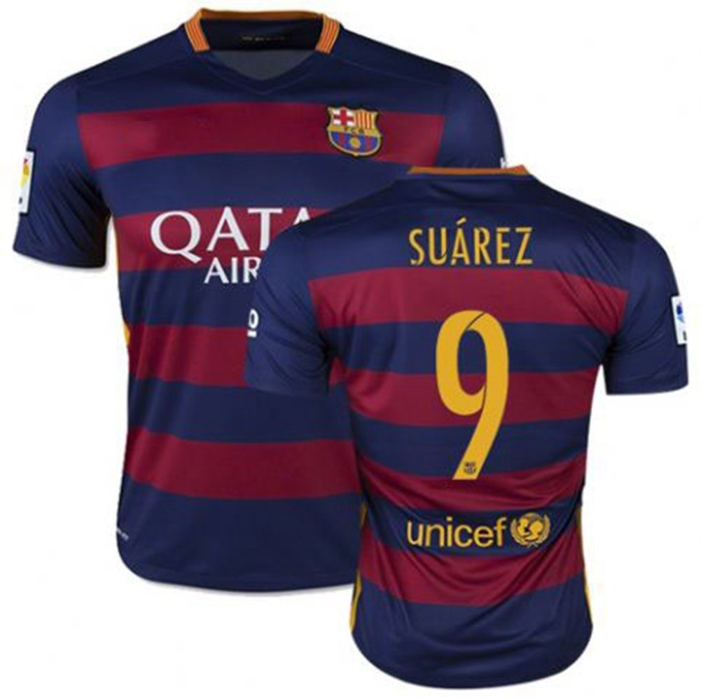 4b5af73cf Get Quotations · Luis Suarez  9 Jersey 2015-2016 Barcelona Home Jersey Men s  Spain Football Club