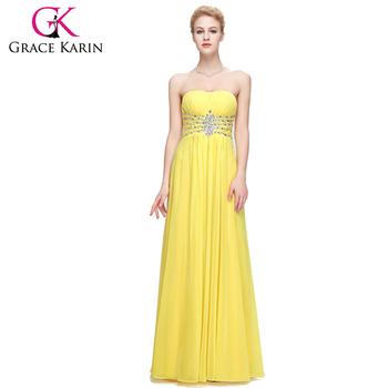 Grace Karin Strapless Sweetheart Long Chiffon Cheap Yellow Prom ...
