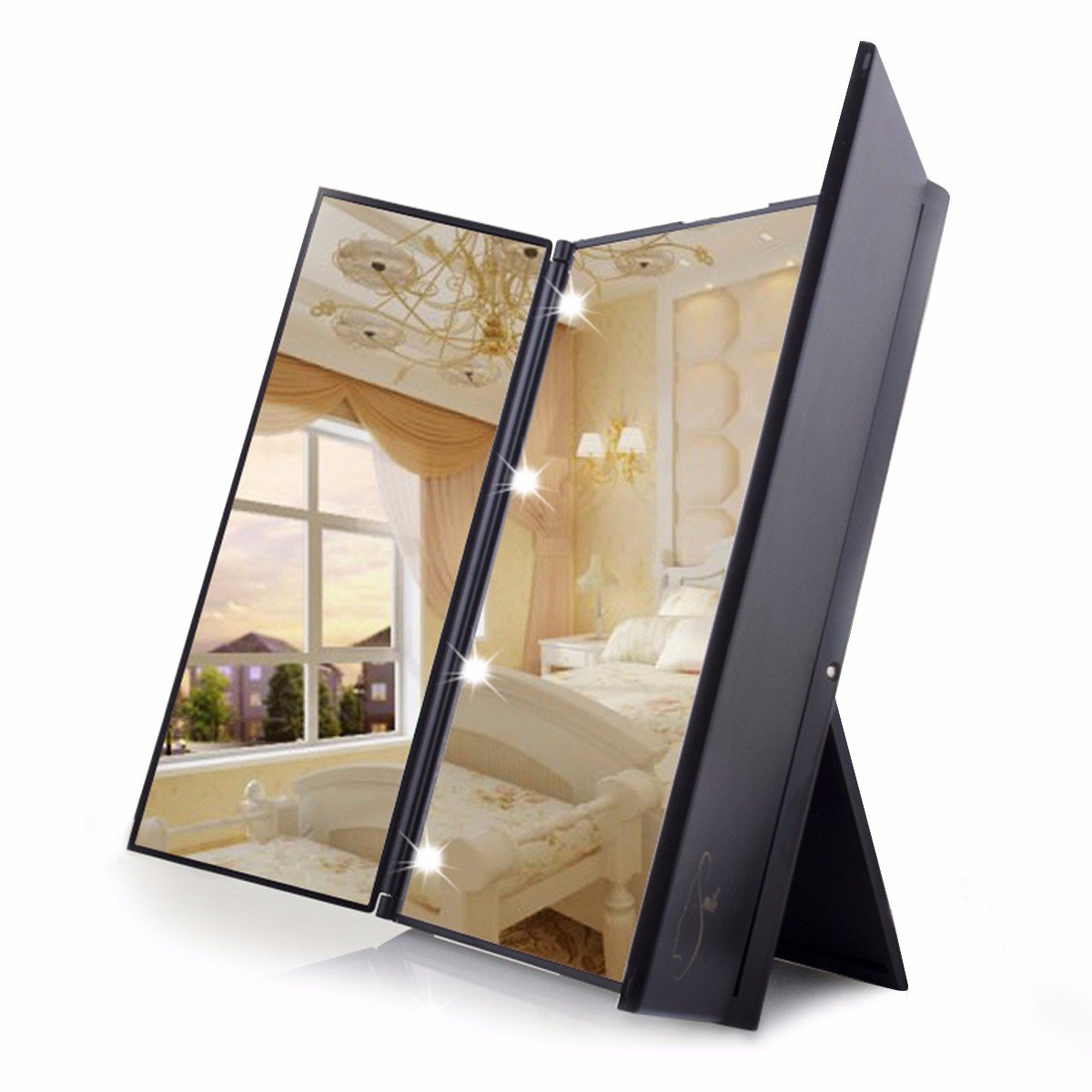 Get Quotations Travel Mirror Luckyfine Tri Fold Lighted Led Vanity