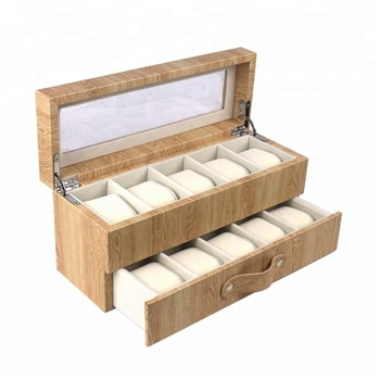 10 Slots Black Leather MDF Wooden Watch Box in Stocked