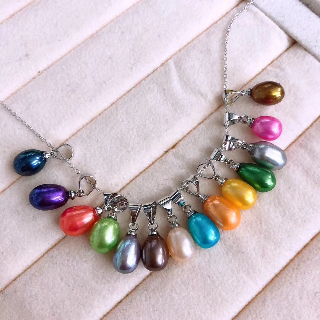 freshwater pearl colorful dyed color drop pearl pendant 925 silver fittings