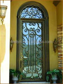 Single Iron Entry Door With Transom