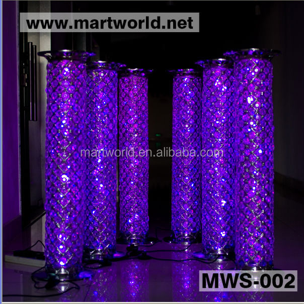 2017 LED RGB light crystal pillars columns wedding stage decoration crystal led pillar for wedding aisle decoration(MWS-002))