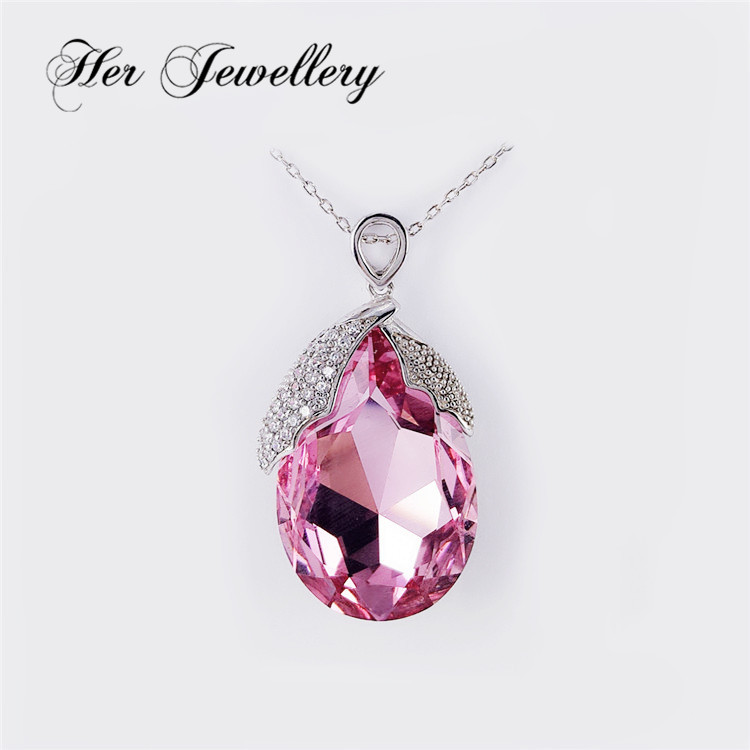 Her Jewelry pink oval crystal pendant in Swarovski wholesale HSP0082
