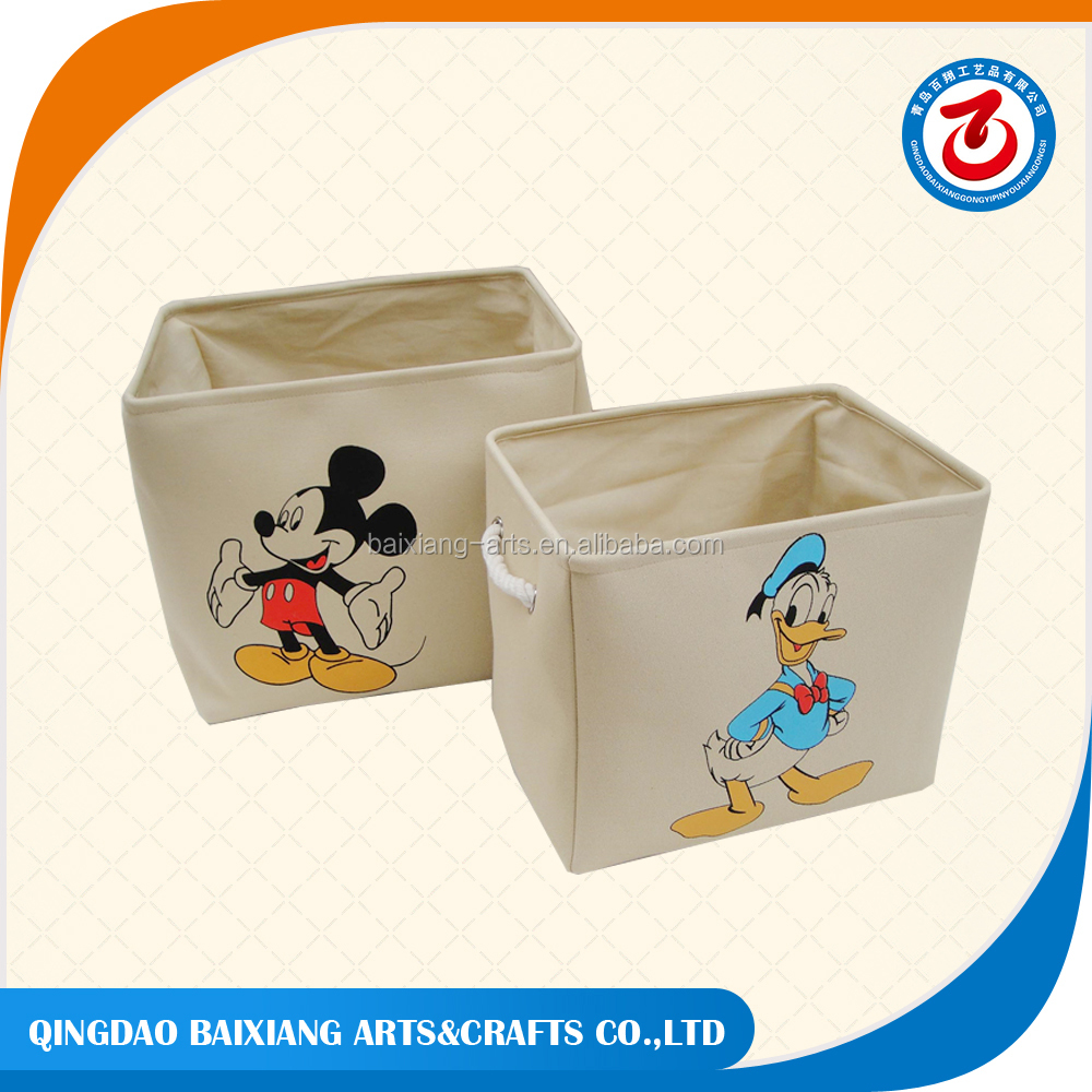 Pretty cartoon canvas toy storage box for girls