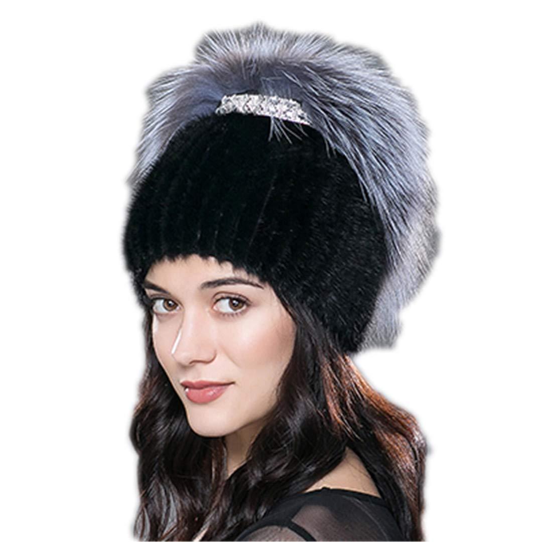 Women's Winter Mink Fur Hat Real Knit Water Jacket Silver Fox Fur Hat Female Warm Hat Fur Hat
