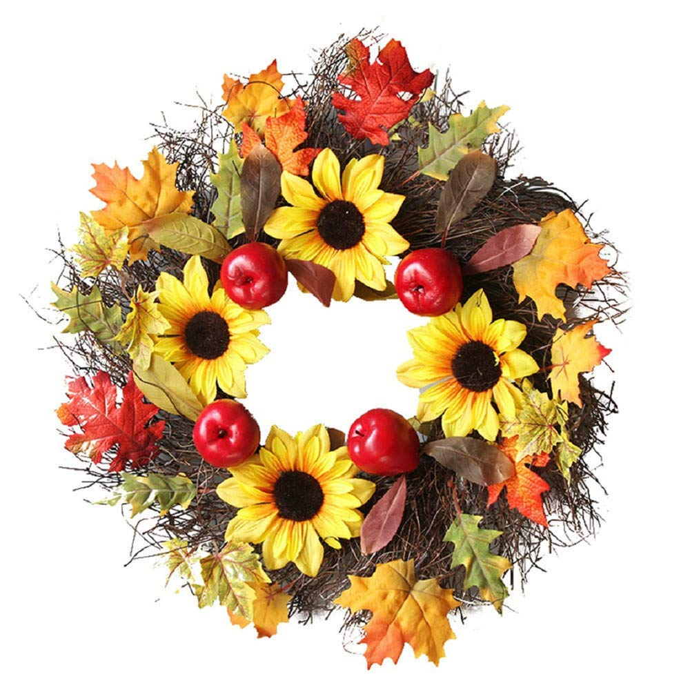 HP95 Happy Fall Wreath for Front Door - 60cm/23.6in Flower & Pumpkin Door Wreath - Harvest Fall Winter Wreath Indoor Wall Décor to Celebrate Thanksgiving Season (Rattan Berry Maple Leaf)