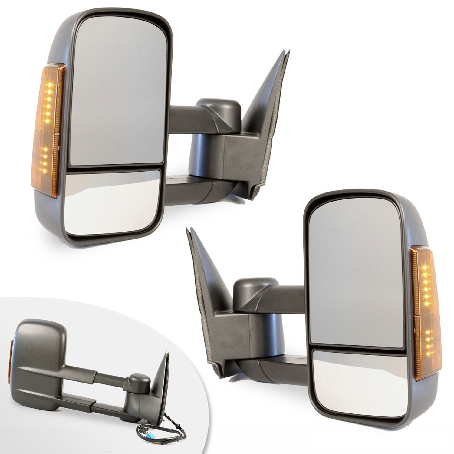 Towing Mirrors 2003-2007 Chevy/GMC Silverado/Sierra Power Heated Signal Side Mirror Pair (2004 2005 2006 models 07 Classic)