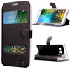 With Dual Display Window Silk texture Wallet Flip Cover for Samsung Galaxy E7 Leather Case