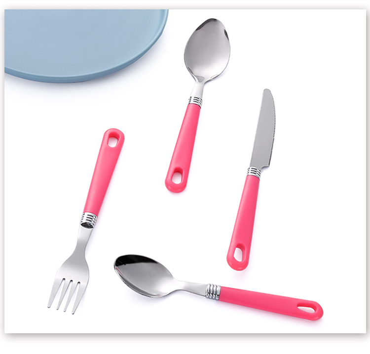Plastic Handle Machine Mirror Polish Stainless Steel Kids Cutlery Set Organizer