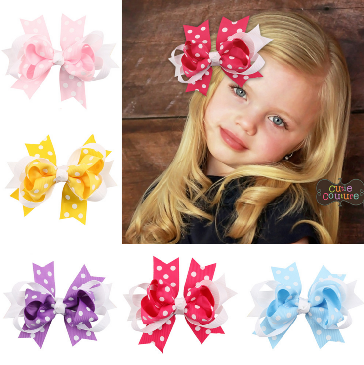 new design baby headband kids polka dot hair bow headband